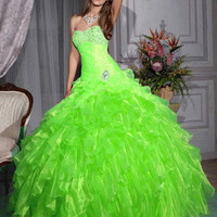 Greens Organza Layers Quinceanera Ball Gowns Wedding Pageant Formal Prom Dress