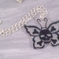Skull and Hearts Butterfly Acrylic Pendant on Silver plated Chain Necklace