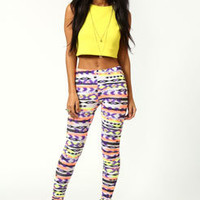 Tandy Neon Fleck Ikat Leggings