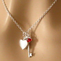 Heart Key Necklace Red Love Key to My Heart by martywhitedesigns