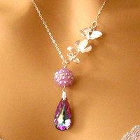 Romantic Necklace Triple Orchid Necklace by martywhitedesigns