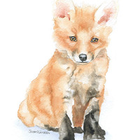 Baby Fox Watercolor Painting 8 x 10 Fine Art Giclee Reproduction