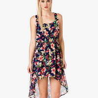 Aloha Print High-Low Dress