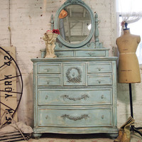 Painted Cottage Chic Shabby Aqua Romantic Dresser CH15