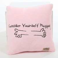 Consider Yourself Hugged Marshmallow Plush Cuddle Pillow in Bubble Gum Pink with Chocolate Hug - P-PC