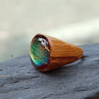 Wood Ring Glass Cab Fused Dichro Wooden Jewelry Red Gold Size 6