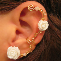 "Non Pierced Cartilage  Ear Cuff  Conch Cuff ""Roses are White"" Gold tone Wedding Prom Bridal"