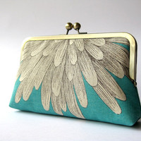 Chrysanthemum  silk lined aqua floral clutch, Bag Noir, Bridesmaid clutch, Weddings bride formal clutch purse