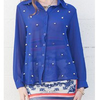 Royal Blue Spiked Blouse   Tanny&#x27;s Couture LLC