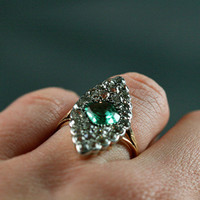 Victorian Emerald And Diamond Engagement Ring by Ruby Gray&#x27;s | Ruby Gray&#x27;s