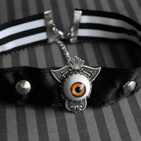 Third Eye - gothic choker with orange eyeball and studs