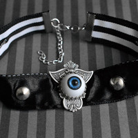 Third Eye - gothic choker with blue eyeball and studs