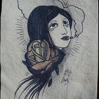 tattoo art style smoking section girl original art by resonanteyes