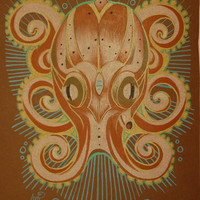 original octopus drawing orange teal and by resonanteyes on Etsy