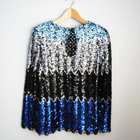 Blue Sunset - Vintage 80s Ombre Sequin Chevron Party Trophy Sequin Top