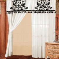 Amazon.com: Chezmoi 2 Panel Black and White Floral Window Curtain/Drape Set with Valance-treatment Drapery: Home & Kitchen