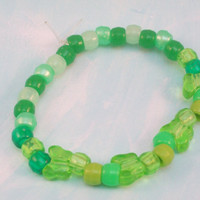Green Butterfly Beaded Stretch Bracelet ExtraSmall