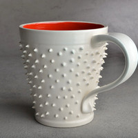 Spiky Mug Made To Order White and Red by symmetricalpottery