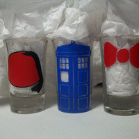 Doctor Who Set of 3 Shot Glasses by TheCraftyGeek86 on Etsy