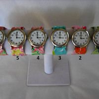 Silver Wristlet Watch Handmade with Your Choice of Lilly Pulitzer Fabric..Group 3