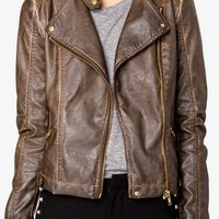 Distressed Faux Leather Moto Jacket | FOREVER 21 - 2040495937