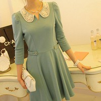 Lace Peterpan collar shirring flare skirt dress