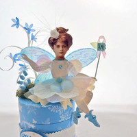 Winter Flower Fairy Paper Doll on Trinket Box by kellbellestudio