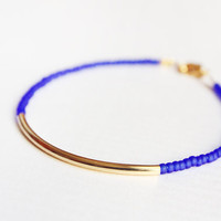 cobalt gold bar bracelet - minimalist jewelry - beaded friendship bracelet