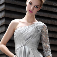Hsn Gallery 2012 Unique Design Fashion Silver Gray One Shoulder Evening Dress