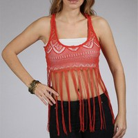 Cinnamon Crochet Fringe Top