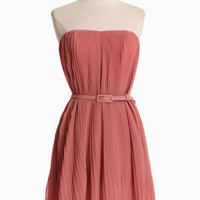 spring breeze pleated dress in dusty pink