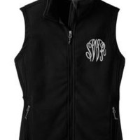 Monogrammed Black Fleece Vest