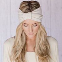 IVORY the Sparrow Headband Wide Stretchy Jersey Hair Band Ruched with Fabric Wrap in CREAM IVORY