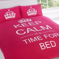 Amazon.com: FULL CERISE PINK TEENAGER KEEP CALM ITS TIME FOR BED COTTON REVERSIBLE COMFORTER COVER: Home & Kitchen