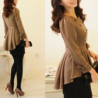 Beige Ruffle trench Dress