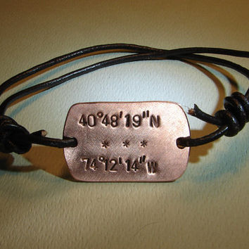 Latitude longitude leather bracelet with custom by NiciLaskin
