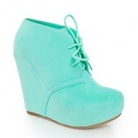 Debrah Wedge Boot in Mint - ShopSosie.com