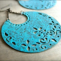 Blue Patina Crescent Earrings by Beazuness on Etsy