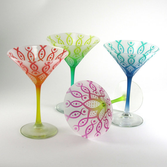 Martini Glasses  Vesuvian Flower  Frosted and by woodeyeglass