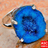 BLUE GEODE SLICE 925 STERLING SILVER RING SIZE 10 1/4 JEWELRY