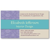 Vintage Lavender Floral, Cream, and Teal Business Cards from Zazzle.com