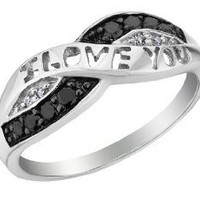 White and Black Diamond I Love You Promise Ring 1/10 Carat (ctw) in Sterling Silver: Jewelry: Amazon.com