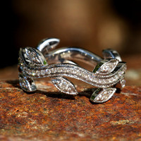 Leaf Eternity WEDDING BAND with Milgrain  Flower by BeautifulPetra