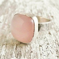 Light Pink Chalcedony Ring Satin Finished Sterling Silver Band