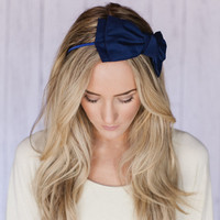 Navy Blue Bow Headband Large Double Bow Hair Band Fashion Cute Headband Traditional Dark Blue Head Band Fabric Wrapped Bow Headband