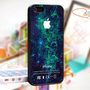Green Galaxy Nebula Apple Logo - Photo On Hard Cover For iPhone 5