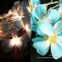 Blue Sky Frangipani Flower String Lights For Wedding and House decoration (20 Flowers/Set)