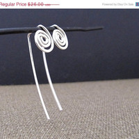 Long Post Silver Earrings. Spiral Elegant Sterling Silver Stud Earrings. Mini Swirl Earrings