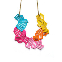 Geometric Necklace Neon Leather Chevron by BooandBooFactory