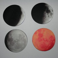 Moon Phases Coaster Set of Four 4 by Valiantstudios on Etsy